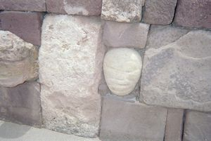 Alien head at basement of the dead in Tiahuanaco, Bolivia